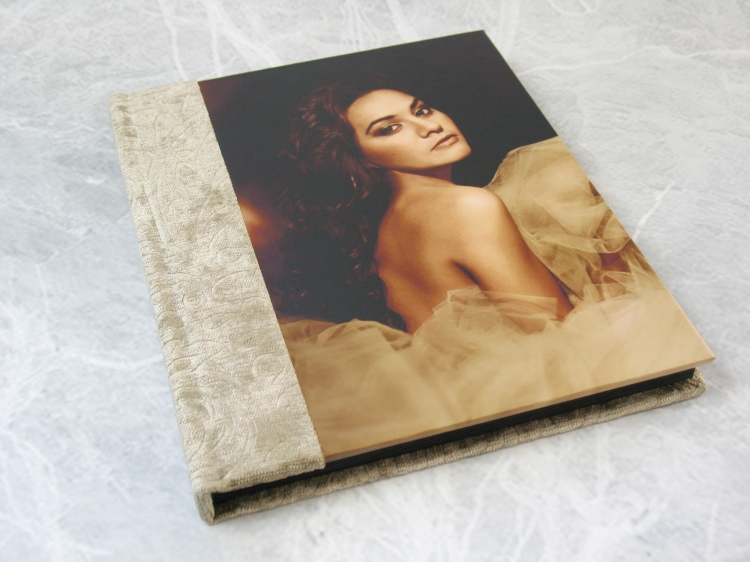 Photo Panel on a self-mount Elements album, pictured with fabric from Finao's Opulence collection. Cover image by Jessica Lark.