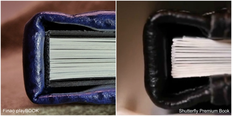 Side-by-side comparison of spines on Finao playBOOk (L) and Shutterfly Premium Book (R) as featured on http://www.shutterfly.com/photo-books/premium-books Finao features high-quality binding, block finishing and solid spines.